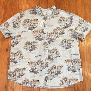 GAP Men's Hawaiian Shirt light blue NEW NWT